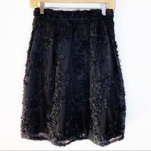 Worthington Black Lattice Flower Rose Skirt 16W